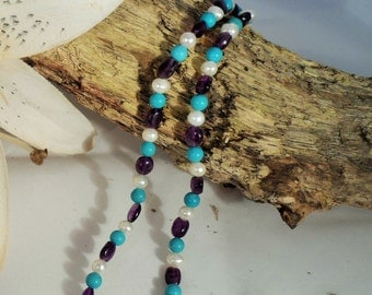 Amethyst, Freshwater Pearl and Turquoise Necklace
