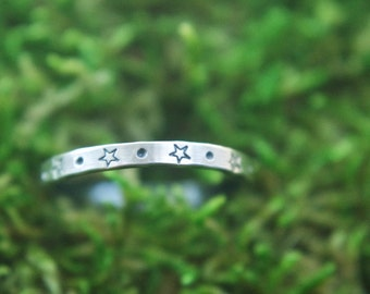 Stardust Ring   Star stacking ring   Moon and Star ring   Silver star ring   Galaxy ring    Star stacking ring   Shooting star ring