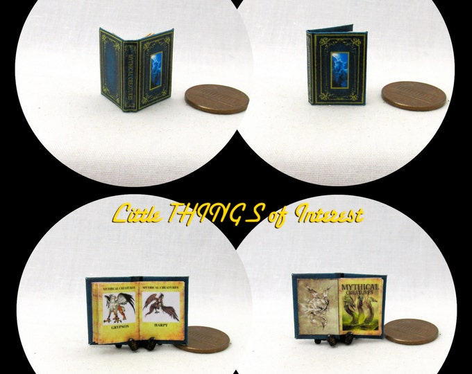 MYTHICAL CREATURES Miniature Book Dollhouse 1:12 Scale Readable Illustrated Book Dragon Unicorn Wizard Witch Fortune Teller Gypsy Potter