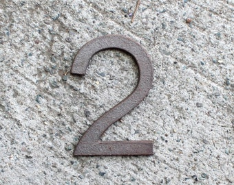 2 - 5 Inch Cast Iron Metal Number 2 - NO drill holes