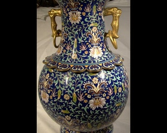 Chinese Cloisonne Enamel Persian Taste Vase 1900 16 inches Tall