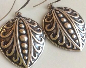 Bohemian Earrings  Oxidized Silver Earrings  Embossed Oxidized Earrings  Long Dangle Earrings  Boho Earrings  Gypsy Dangles