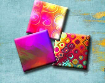 ABSTRACT ILLUSIONS -  Digital Collage Sheet 1 inch square images for earrings, pendants, magnets, scrap-booking etc. Instant Download #229.