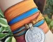 Oasis Boho Silk Wrap Bracelet w/Tribal Kuchi Coin, Gypsy, Kuchi Jewelry, Belly Dance, Yoga Bracelet, Blue Yellow Brown Bohemian