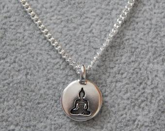 Buddha Charm Necklace, Buddha Pendant, Silver Buddha Necklace, Spiritual Pendant