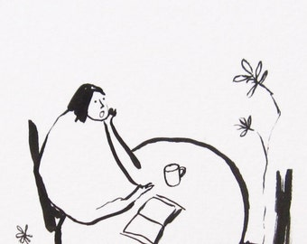 ORIGINAL ink sketch, ink drawing, minimalist black and white art, indian ink illustration, ink art, girl at a coffee shop growing flowers