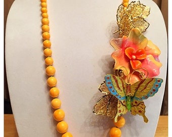 Handmade Repurposed Vintage Beaded Assemblage Necklace, Enamel Butterfly and Flower Necklace