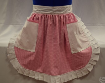Retro Vintage 50s Style Half Apron / Pinny - Pink & White Polka Dot with White Trim and 2 Pockets