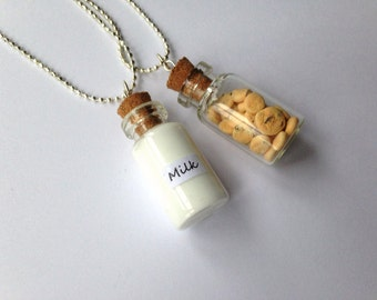 Milk and Cookies Best Friends Necklaces, friendship necklace BFF necklace, miniature food, polymer clay, kawaii besties necklace, bff gift