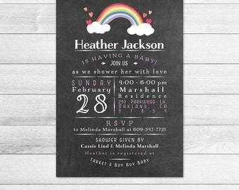 Chalkboard Rainbow Baby Shower Invitation, Girl Digital Printable Invite, Purple, Cloud, Subway Style