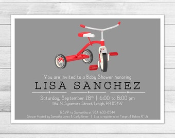 Vintage, Classic Tricycle Baby Shower Invitation, Gender Neutral Digital Printable Invite, Trike Baby, Red
