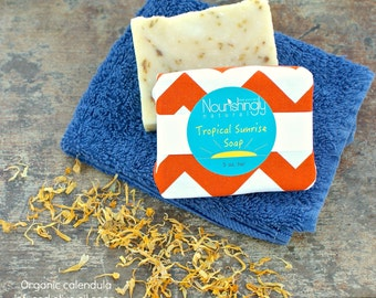 Calendula Soap, Olive Oil Soap, Organic Castile Soap, Herbal Soap, Palm Oil Free, Tropical Sunrise, Citrus Essential Oil Soap, Large Soap