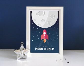 Space Art Print - Childrens Wall Art, Stars, Rocket Ship, Moon, Childrens Print, Space Wall Art, Nursery Decor,