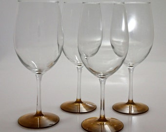 Hand Painted White Wine Glasses, Set of 4