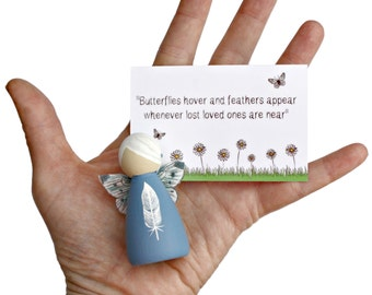 White Feather Peg Doll Fairy - Bereavement Sympathy Remembrance Gift