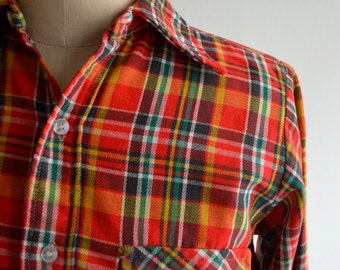Vintage 1970s Red Plaid Flannel by Northway Size Small