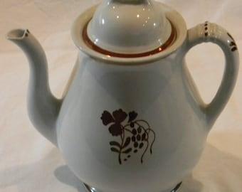 RARE White Ironstone Stoneware Stone ware Teaberry Coffee Pot WOW