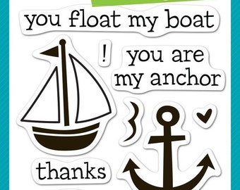 Lawn Fawn Float My Boat Photopolymer Clear Stamp Set, Scrapbooking/Stamping/Paper Crafts