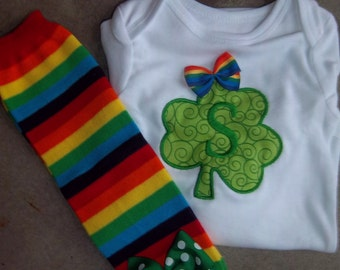 St. Patrick's Day Outfit - Personalized Shamrock - Bodysuit - Rainbow Leg Warmers - Baby Girl Set