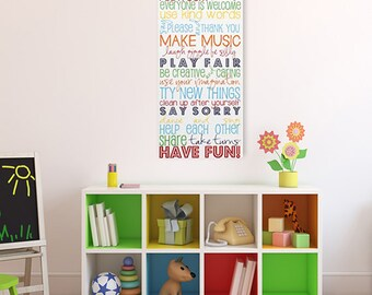 Playroom Rules Canvas Art - Gallery Wrapped Canvas Art Prints - Subway Art For Kids