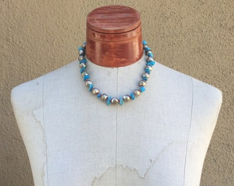 Turquoise Coral Necklace choker Navajo stone Native American Silver Jewelry old Dead pawn Southwestern