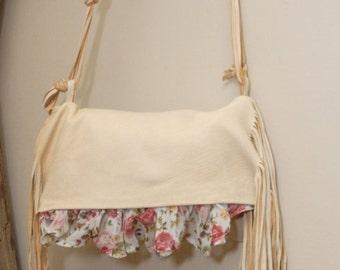 Spring purse - leather purse - floral purse