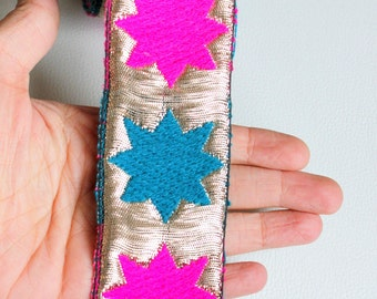 Silver Lace Trim with Fuchsia Pink And Teal Blue Stars Embroidery, Approx. 50mm Wide - 140316L180A
