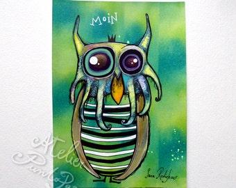 Moin,Crazy owl art,green, original drawing on acid free paper,streetart owl,outsider art