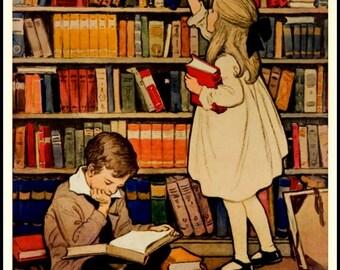 Art Print Books in the Home 1930 - Print