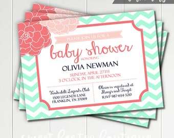 Baby Shower Invitation - Boy or Girl - Printable Invite - Chevron Flowers Floral - Navy Aqua Mint Turquoise Gray Grey Coral - Digital File