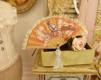 Miniature Victorian coral pink fan, Old chromo, 19th century, French boudoir, Decorative accessory for a miniature house, 1:12th scale