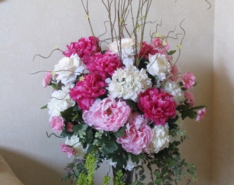 Rose, Peony and Hydrangea Silk Ceremony / Alter / Reception Table / Buffet Table / Guest Book Table Arrangement