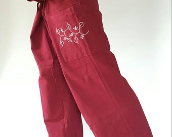 TCP0011 Red Embro Thai fisherman/Yoga are pants Free-size: Will fit men or woman