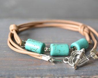 Leather Bracelet - boho bracelet - leather - wrap bracelet - stone bracelet - turquoise bracelet - bohemian bracelet - stone bracelet