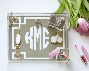 "Personalized Lucite Tray - hostess gift, bathroom catchall 8.5""x11"""