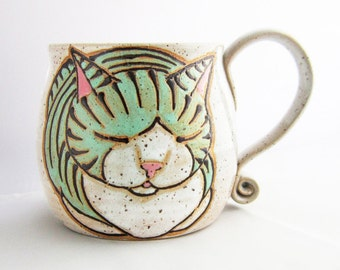 Child's Cup, Sm Cat Mug, pottery mug, child's birthday gift, cat loaf mug, cat art , holds approx 10 oz, dishwasher and microwave safe.