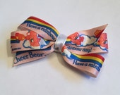 Vintage 1980s Care Bear Ribbon Crafted Into Cheer Bear Hair Bow Clip