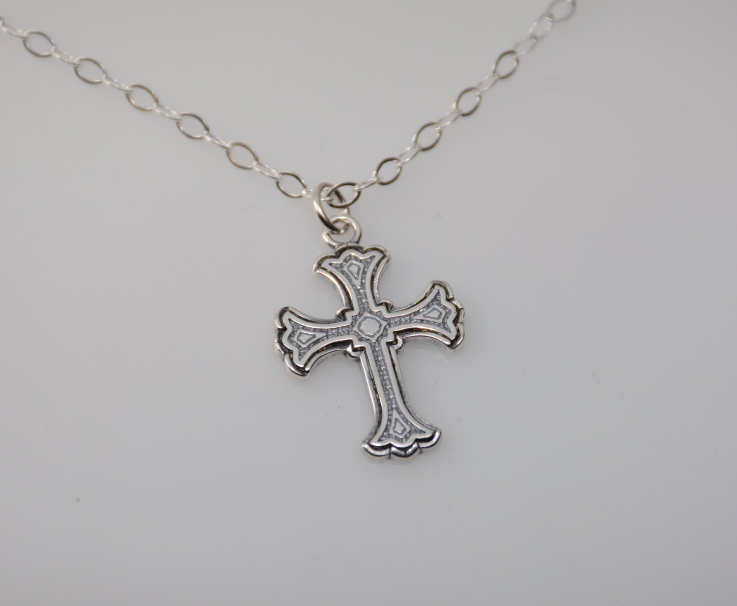 cross necklace small cross necklace christening gift