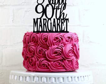 Happy 90th Birthday Cake Topper Personalized with Name and Age