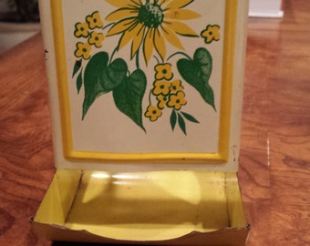 Vintage Tin Sunflower Match Safe / Match Box