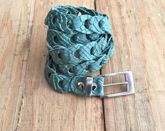 Color leather belt, Teal leather belt for women, braided leather Belt, turquoise handmade leather belt, gift under 40, gift for her