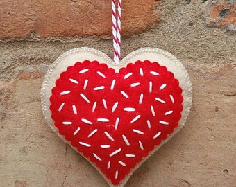Felt Christmas cookie heart ornament