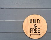 "Wild & Free Wall Sign, 11""W x 11""H, Hangable Art for Nursery Decor Bedroom Kids Room Teen Room Laser Cut Wood Sign Relax Chill"