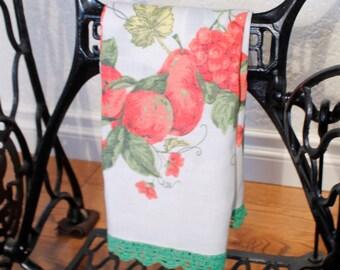 Linen Tea Towel, Floral Tea Towel, Green Edged Tea Towel