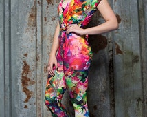 Cross Front Jumpsuit in Rainbow Watercolour Digital Print Jersey by Get Crooked