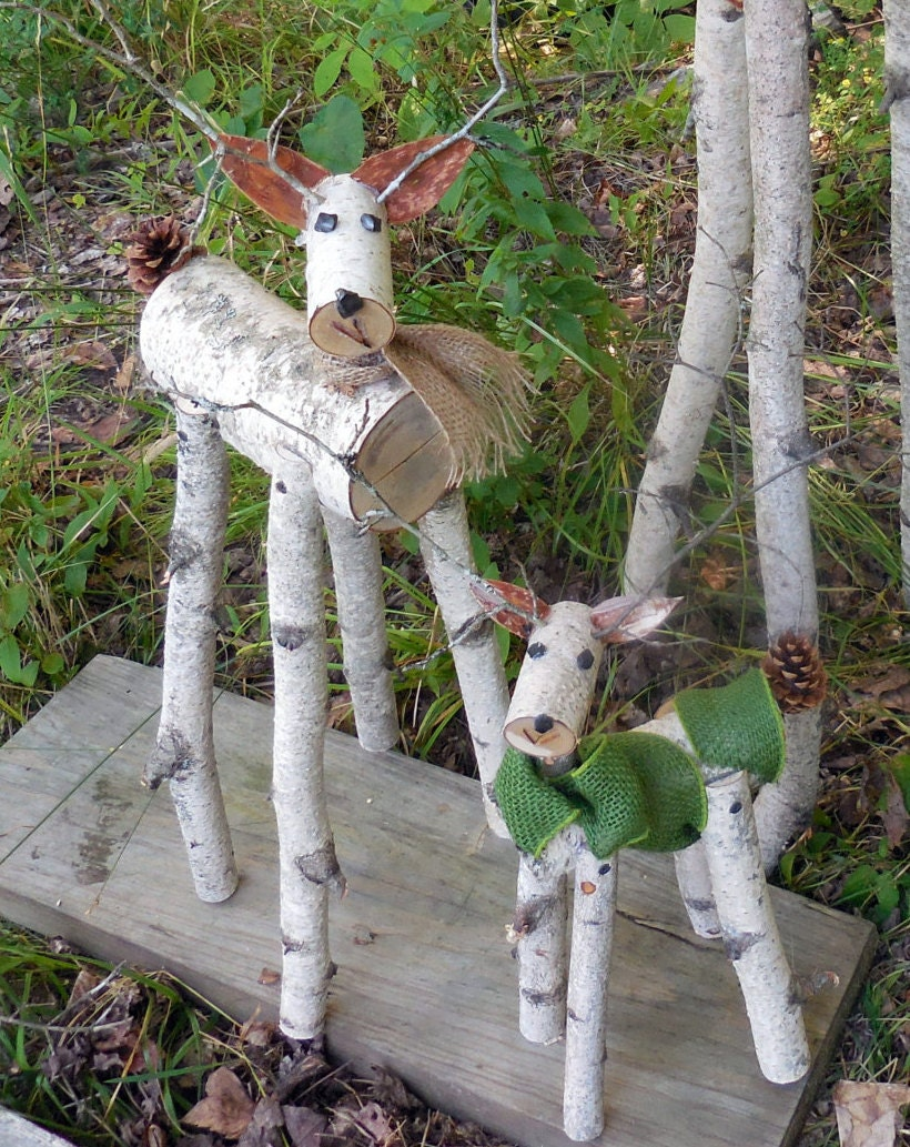 Reindeer birch log deer garden holiday decor etsy for Christmas deer outdoor decorations