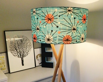 1950s Retro Atomic Fabric Lampshade