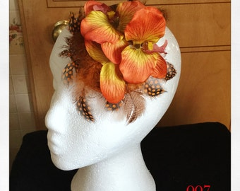 Orange Orchid Feather Fascinator