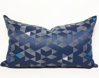 12x20 Blue pillow, Navy Blue Equation lumbar pillow cover (horizontal pattern), blue and gray lumbar pillow, indigo pillow