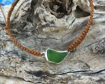 Green Seaglass Pulltie Hemp Bracelet